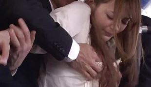 Cute japanese ecumenical fingered in hammer away motor coach